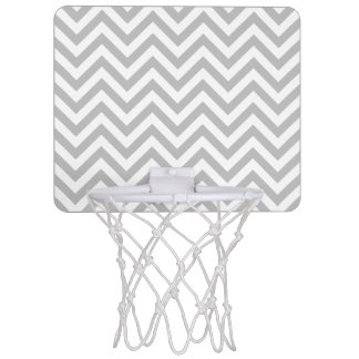Gray and White Zigzag Stripes Chevron Pattern Mini Basketball Hoop