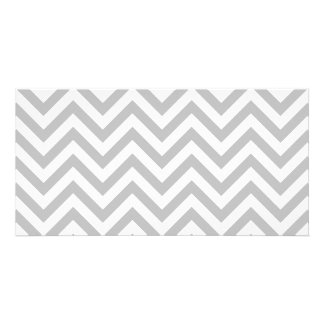 Gray and White Zigzag Stripes Chevron Pattern Photo Card Template
