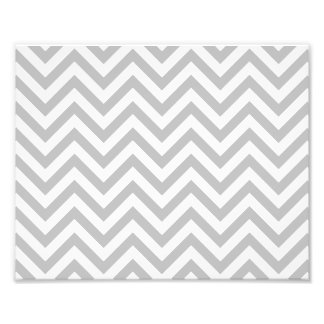 Gray and White Zigzag Stripes Chevron Pattern Photo Print