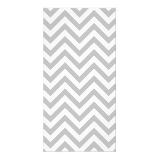 Gray and White Zigzag Stripes Chevron Pattern Picture Card
