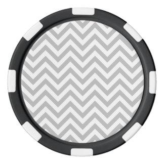 Gray and White Zigzag Stripes Chevron Pattern Poker Chips