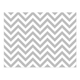 Gray and White Zigzag Stripes Chevron Pattern Postcard