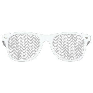Gray and White Zigzag Stripes Chevron Pattern Retro Sunglasses