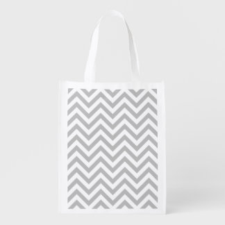 Gray and White Zigzag Stripes Chevron Pattern Reusable Grocery Bag