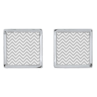 Gray and White Zigzag Stripes Chevron Pattern Silver Finish Cuff Links