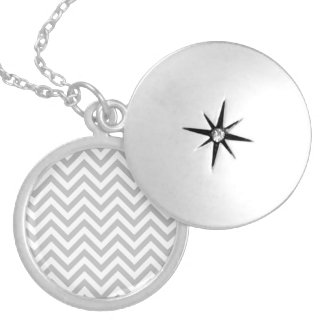 Gray and White Zigzag Stripes Chevron Pattern Silver Plated Necklace