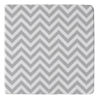 Gray and White Zigzag Stripes Chevron Pattern Trivet