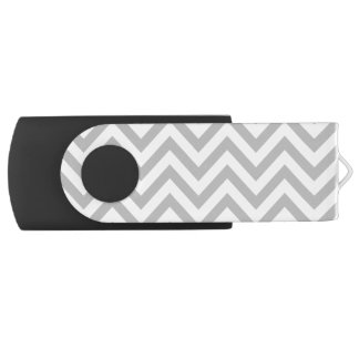 Gray and White Zigzag Stripes Chevron Pattern USB Flash Drive