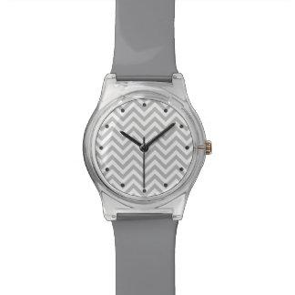 Gray and White Zigzag Stripes Chevron Pattern Watch