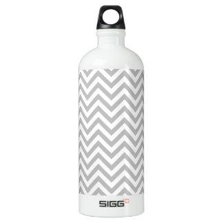 Gray and White Zigzag Stripes Chevron Pattern Water Bottle