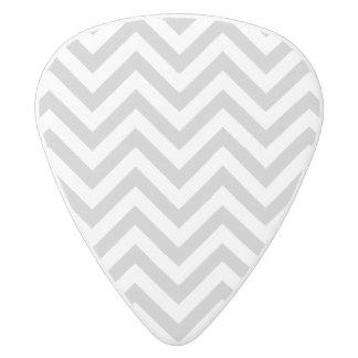 Gray and White Zigzag Stripes Chevron Pattern White Delrin Guitar Pick