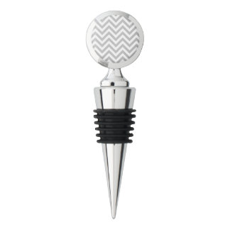 Gray and White Zigzag Stripes Chevron Pattern Wine Stopper