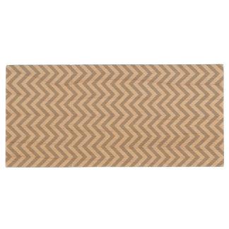Gray and White Zigzag Stripes Chevron Pattern Wood USB Flash Drive