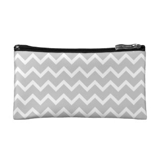 Gray and White Zigzag Stripes. Cosmetic Bag