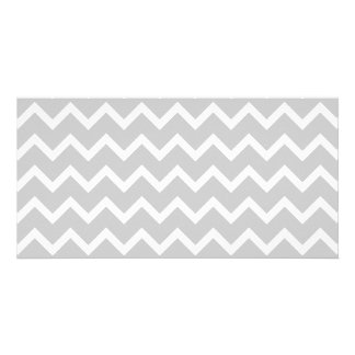 Gray and White Zigzag Stripes. Custom Photo Card