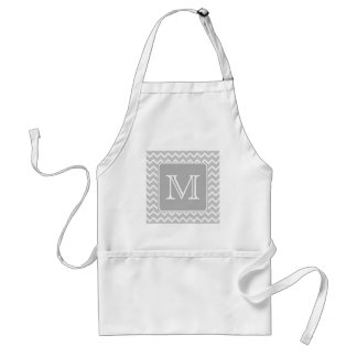 Gray and White Zigzags with Custom Monogram. Apron