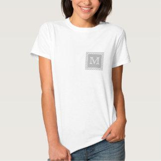Gray and White Zigzags with Custom Monogram. Tee Shirt