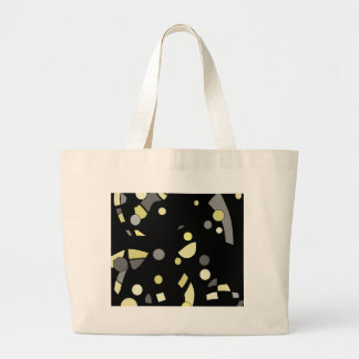 Gray and yellow abstrac large tote bag