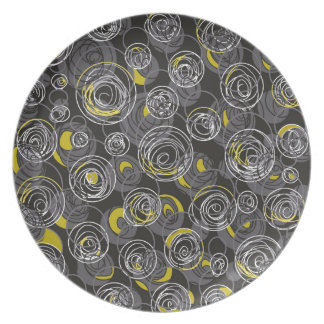 Gray and yellow abstract art plate