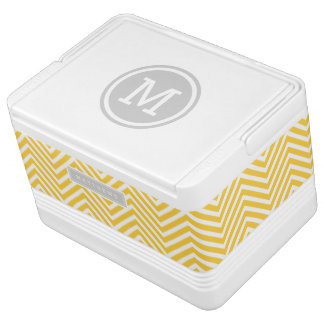 Gray and Yellow Chevron Custom Monogram Cooler