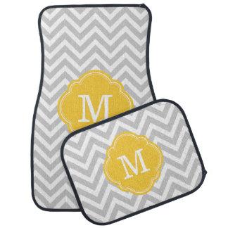 Gray and Yellow Chevron Monogram Floor Mat