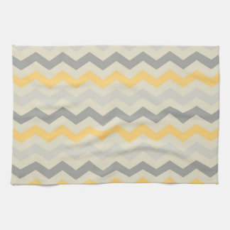 Gray and Yellow Chevron Stripe Zig Zag Kitchen Set Towel