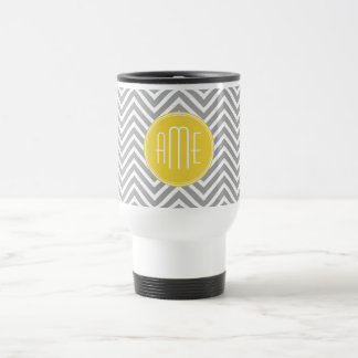 Gray and Yellow Chevrons Custom Monogram Travel Mug