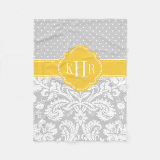 Gray and Yellow Damask Polka Dots Monogram Fleece Blanket