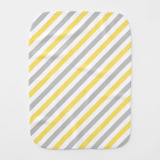 Gray and Yellow Diagonal Stripes Pattern Baby Burp Cloths