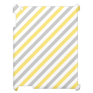 Gray and Yellow Diagonal Stripes Pattern Case For The iPad