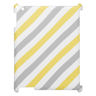 Gray and Yellow Diagonal Stripes Pattern Cover For The iPad