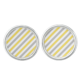Gray and Yellow Diagonal Stripes Pattern Cufflinks