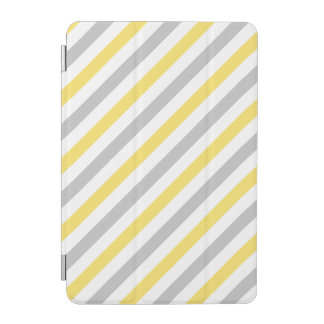Gray and Yellow Diagonal Stripes Pattern iPad Mini Cover