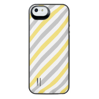 Gray and Yellow Diagonal Stripes Pattern iPhone SE/5/5s Battery Case