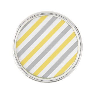 Gray and Yellow Diagonal Stripes Pattern Lapel Pin