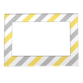 Gray and Yellow Diagonal Stripes Pattern Magnetic Frame