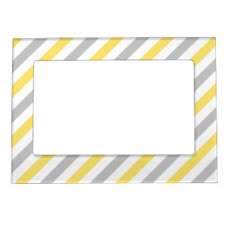 Gray and Yellow Diagonal Stripes Pattern Magnetic Picture Frame