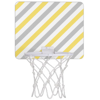 Gray and Yellow Diagonal Stripes Pattern Mini Basketball Hoop