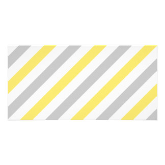 Gray and Yellow Diagonal Stripes Pattern Personalized Photo Card