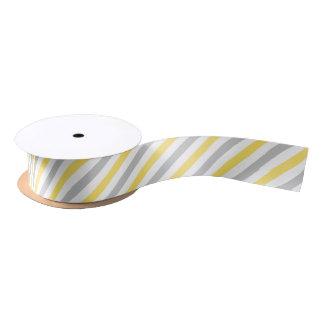 Gray and Yellow Diagonal Stripes Pattern Satin Ribbon