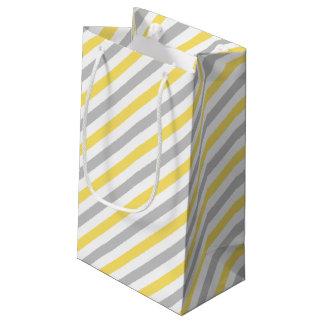 Gray and Yellow Diagonal Stripes Pattern Small Gift Bag