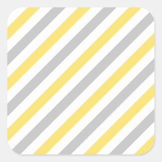 Gray and Yellow Diagonal Stripes Pattern Square Sticker