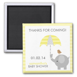 Gray and Yellow Elephant Baby Shower Favors Square Magnet