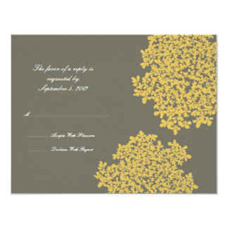 Gray and Yellow Floral Wedding RSVP 11 Cm X 14 Cm Invitation Card