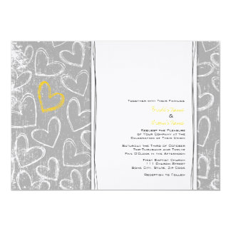 "Gray and Yellow Grunge Hearts Wedding Invitations 5"" X 7"" Invitation Card"