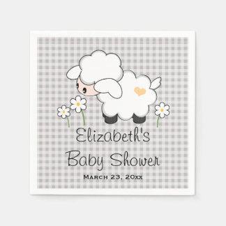 Gray and Yellow Lamb Gender Neutral Baby Shower Disposable Serviette