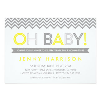 Gray and Yellow Modern Chevron Baby Shower 13 Cm X 18 Cm Invitation Card