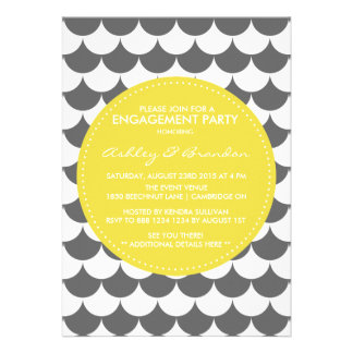Gray and Yellow Pattern Engagement Invitation
