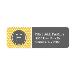 Gray and Yellow Polka Dots Monogram Return Address Label