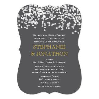 Gray and Yellow Shooting Stars Wedding Invitations